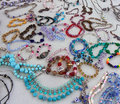 Homemade bracelets and necklacesat fleamarket Royalty Free Stock Photo