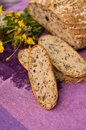 Homemade bread with flowers closeup of freshly baked fresh Royalty Free Stock Photo
