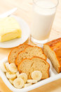 Homemade breakfast banana bread glass milk Stock Image