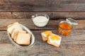 Homemade breakfast. Wooden table. Royalty Free Stock Photo