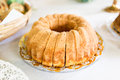 Homemade bundt cake at coffee table Stock Photography