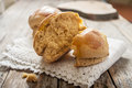 Homemade buns on white napkin close up Royalty Free Stock Image