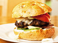 Homemade burger close up with cheese tomato Royalty Free Stock Photography