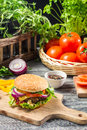 Homemade burger made ​​from fresh vegetables old wooden table Stock Photography