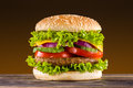 Homemade burger on the wooden table Royalty Free Stock Photos