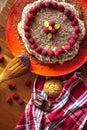 stock image of  Homemade cake with raspberries and chocolate