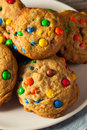 Homemade Candy Coated Chocolate Chip Cookies Royalty Free Stock Photo