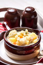 Homemade cauliflower soup in a brown bowl. Royalty Free Stock Photo