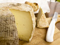 Homemade cheese goat from france cut on the wood Royalty Free Stock Photography