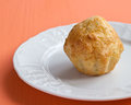 Homemade cheese muffin on a white plate Stock Photography