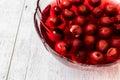 Homemade Cherry Compote in glass bowl / Komposto