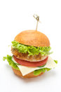 Homemade chicken burger with vegetables low fat cheese lettuce and on white Stock Photos