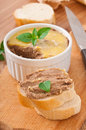 Homemade chicken liver pate basil and slices of white bread Royalty Free Stock Photo