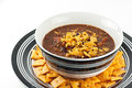 Homemade chili con carne plated with cheese crackers Stock Photo
