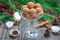 Homemade chocolate caramel truffles in glass Royalty Free Stock Image