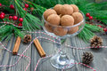 Homemade chocolate caramel truffles in glass Royalty Free Stock Photo