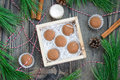 Homemade chocolate caramel truffles in wooden box Stock Photography