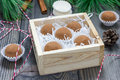 Homemade chocolate caramel truffles in wooden box Royalty Free Stock Image