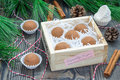 Homemade chocolate caramel truffles in wooden box Stock Photos