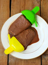 Homemade chocolate sorbet melted on plate Royalty Free Stock Photography