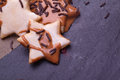 Homemade chocolate star coockies christmas Stock Photo