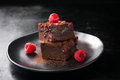 Homemade chocolate sweet brownies cakes with cherry and raspberries Royalty Free Stock Photo