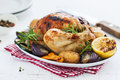 Homemade christmas chicken with vegetables on a plate