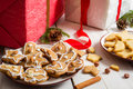 Homemade christmas decorations and cookies Gift Stock Photos