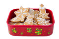Homemade christmas ginger honey cookies christmas gift box star fir tree snowflake fish snowman shapes Stock Images
