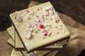 Homemade christmas peppermint bark dessert with white chocolate Royalty Free Stock Photography