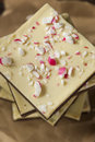 Homemade christmas peppermint bark dessert with white chocolate Stock Photo