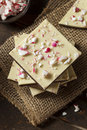 Homemade christmas peppermint bark dessert with white chocolate Royalty Free Stock Photos