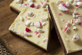 Homemade christmas peppermint bark dessert with white chocolate Royalty Free Stock Images