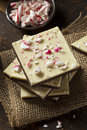 Homemade christmas peppermint bark dessert with white chocolate Stock Photos