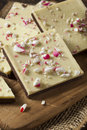 Homemade christmas peppermint bark dessert with white chocolate Stock Images