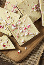 Homemade christmas peppermint bark dessert with white chocolate Stock Image