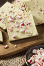 Homemade christmas peppermint bark dessert with white chocolate Royalty Free Stock Photo