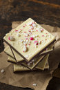 Homemade christmas peppermint bark dessert with white chocolate Royalty Free Stock Image