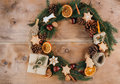 Homemade Christmas wreath Royalty Free Stock Photo