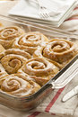 Homemade cinnamon roll sticky buns with icing Stock Photography