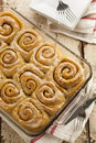 Homemade cinnamon roll sticky buns with icing Stock Images