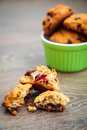 Homemade cookies close up with oat flakes chocolate and dried cranberries Stock Images