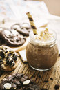 Homemade Cookies and Cream Milkshake. Royalty Free Stock Photo