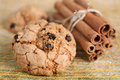 Homemade cookies with raisins and cinnamon sticks Royalty Free Stock Image