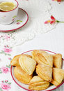 Homemade cottage cheese cookies witch cup tea Stock Photos