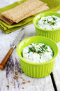 Homemade cottage cheese spread and rye loaves Royalty Free Stock Photo