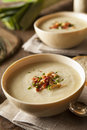 Homemade creamy potato and leek soup in a bowl Royalty Free Stock Images
