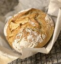 Homemade crusty cast iron dutch oven bread Royalty Free Stock Photo