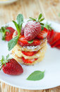 Homemade curd pancake with strawberries closeup food Royalty Free Stock Image