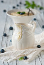 Homemade custard sweet with berry and mint selective focus Royalty Free Stock Photography